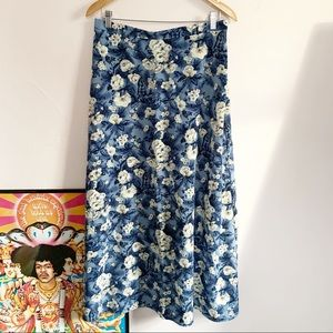 Vintage 70s All that Jazz Blue Floral Maxi Skirt